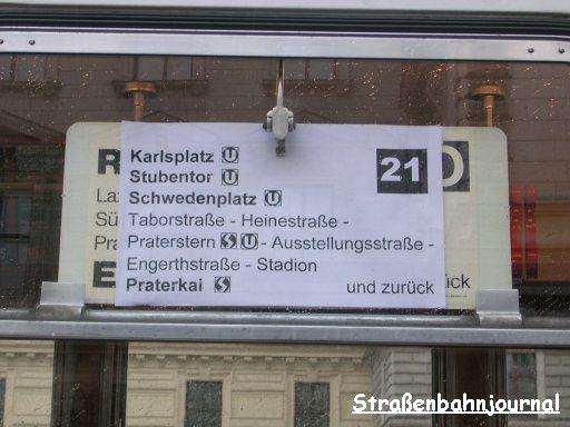 Routentafel Linie 21
